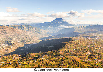 Tungurahua Province In Ecuador Aerial View Volcano With The Same Name In The Background