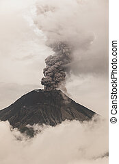 Tungurahua Volcano Fiery Eruption, February 2016, South America