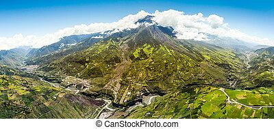 Tungurahua Volcano Panorama Aerial Shot