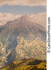 Tungurahua Volcano Smoking, Aerial View, Ecuador, South...