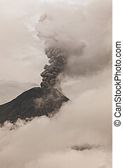 Tungurahua Volcano Surrounded In Clouds