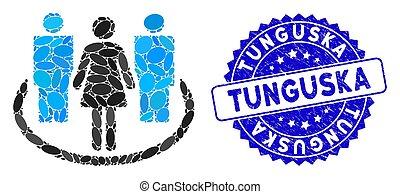 tunguska, timbre, mosaïque, icône, société, textured