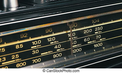 Tuning Analog Radio Dial Frequency on Scale of the Vintage...