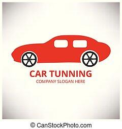 tuning., rendbehozás, service., autó, centre., szürke, autó., háttér, autó, fehér