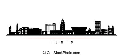 Tunis skyline horizontal banner. Black and white silhouette of Tunis City. Vector template for your design.