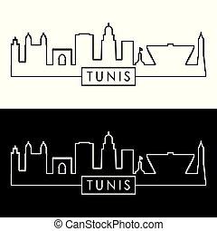 Tunis skyline. Linear style. Editable vector file.