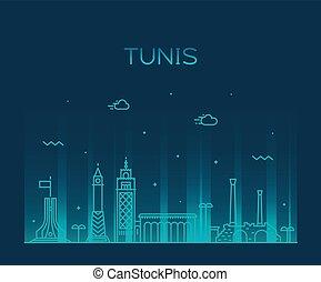 Tunis skyline, Tunisia. Trendy vector illustration linear style