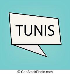 Tunis word on a sticker- vector illustration