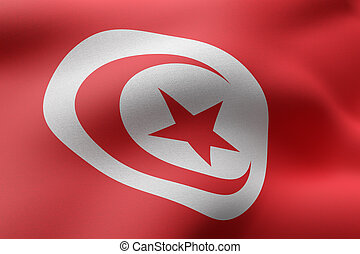 Tunisia 3d flag
