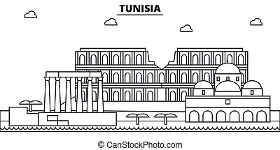 Tunisia architecture skyline buildings, silhouette, outline...