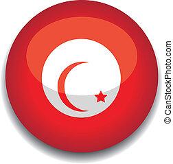 tunisia, bottone, bandiera