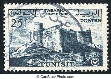 Genoese fort - TUNISIA - CIRCA 1954: stamp printed by ...