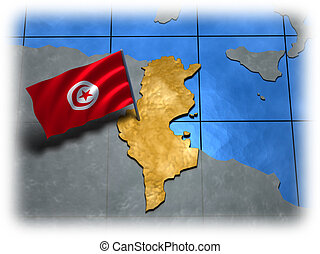 Tunisia country with its flag