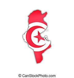 tunisia - map of tunisia with flag and shadow