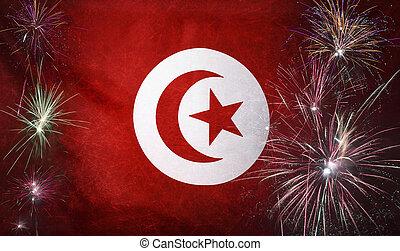 Tunisia Flag Firework Grunge Concept real fabric - Textile...