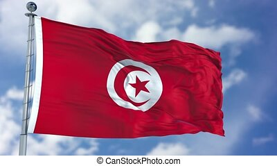 Tunisia Flag in a Blue Sky. Use this clip loud and proud to...