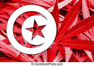 Tunisia Flag on cannabis background. Drug policy....
