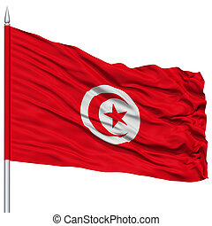 Tunisia Flag on Flagpole , Flying in the Wind, Isolated on...