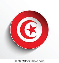 Vector - Flag Paper Circle Shadow Button Tunisia