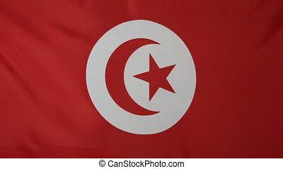 Tunisia Flag real fabric close up - Textile flag of Tunisia...