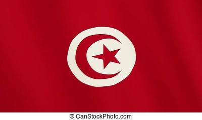 Tunisia flag waving animation. Full Screen. Symbol of the...