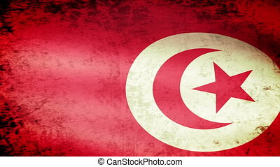 Tunisia Flag Waving, grunge look