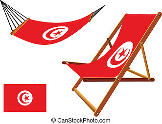 tunisia hammock and deck chair set against white background,...