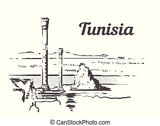 Tunisia hand drawn. Baths of Antoninus in Carthage sketch style vector illustration. Isolated on white background.