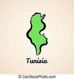 tunisia, mappa, -, contorno