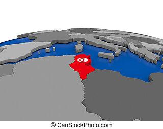 Tunisia on 3D globe