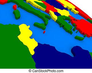 Tunisia on colorful 3D globe