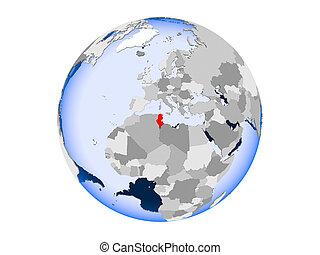 Tunisia on globe isolated