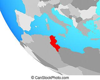 Tunisia on globe