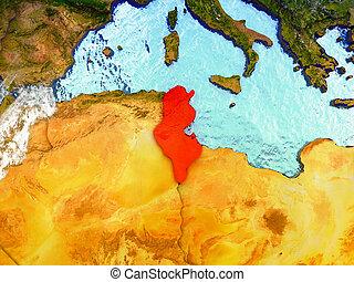 Tunisia on illustrated globe