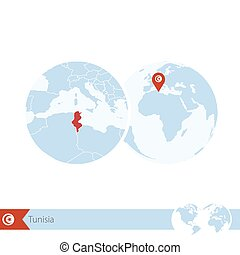 Tunisia on world globe with flag and regional map of...