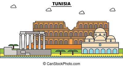 Tunisia outline city skyline, linear illustration, line banner, travel landmark, buildings silhouette, vector