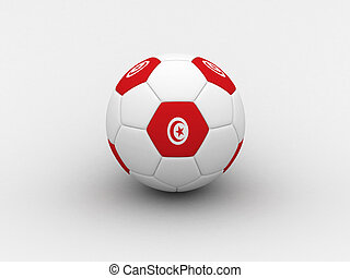 Tunisia soccer ball - Photorealistic 3D soccer ball isolated...