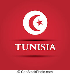 Tunisia text on special background allusive to the flag