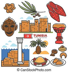 Tunisia travel tourism famous symbols and tourist culture landmarks vector icons