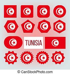 Tunisia Various Shapes Vector National Flags Set