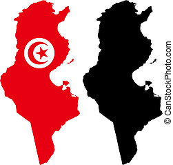 tunisia - vector map and flag of Tunisia with white...