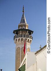 Tunisian architecture, detail from the minaret, Tunis, Tunisia