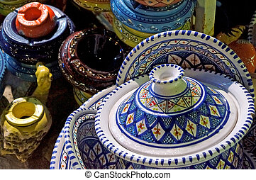 Tunisian ceramic objects decorated with traditional colour...