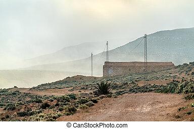 Tunisian countryside in the morning fog. Tataouine, Southern Tunisia