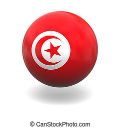 National flag of Tunisia on sphere isolated on white background