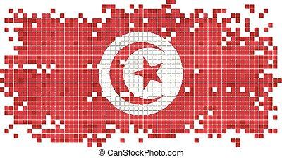 Tunisian grunge tile flag. Vector