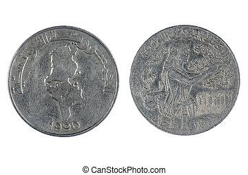 tunisien, mynt, dinar