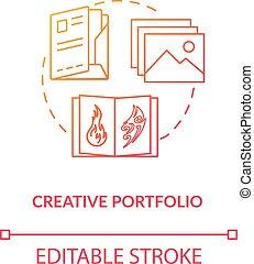tunn, vektor, konstverk, isolerat, portfölj, formge agentur, skapande, presentation, illustration., studio, färg prov, skissera, teckning, begrepp, leaflet., fodra, tidskrift, rgb, idé, annonsering, icon.