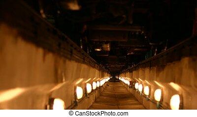 tunnel, éclairé, lanterns.