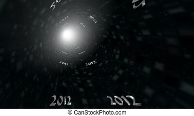 Tunnel 2012 - On a tunnel digits 2012 fly. Light in the end...